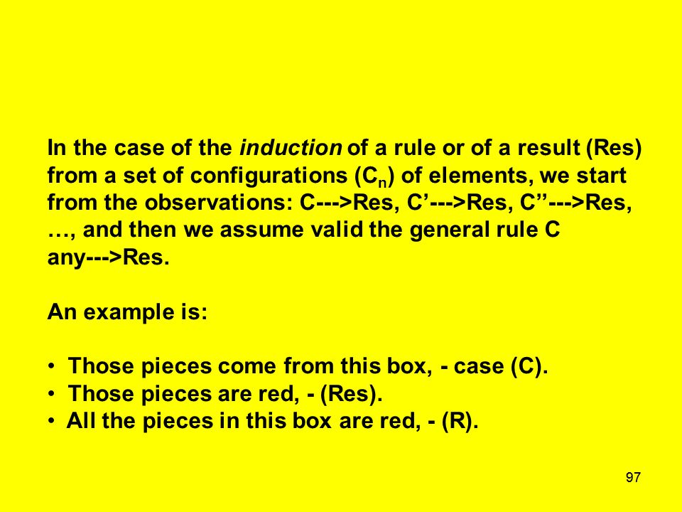 97 In the case of the induction of a rule or of a result (Res) from a set of configurations (C n ) of elements, we start from the observations: C--->R