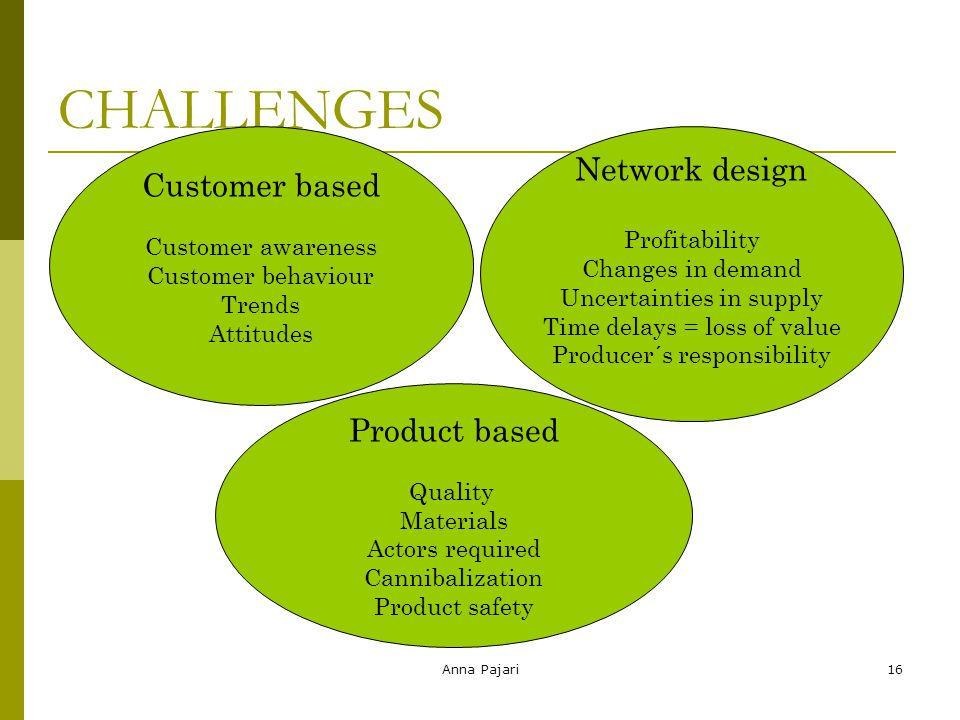 Anna Pajari16 CHALLENGES 16 Customer based Customer awareness Customer behaviour Trends Attitudes Product based Quality Materials Actors required Cann