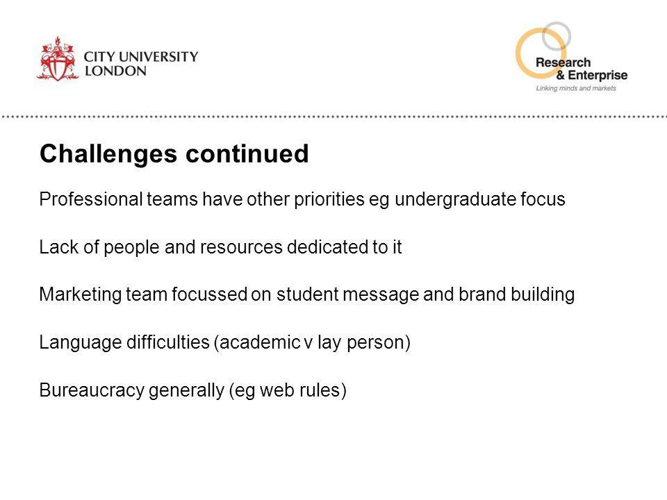 Challenges continued Professional teams have other priorities eg undergraduate focus Lack of people and resources dedicated to it Marketing team focus