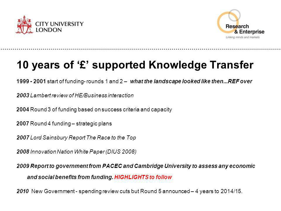 10 years of '£' supported Knowledge Transfer 1999 - 2001 start of funding- rounds 1 and 2 – what the landscape looked like then...REF over 2003 Lamber