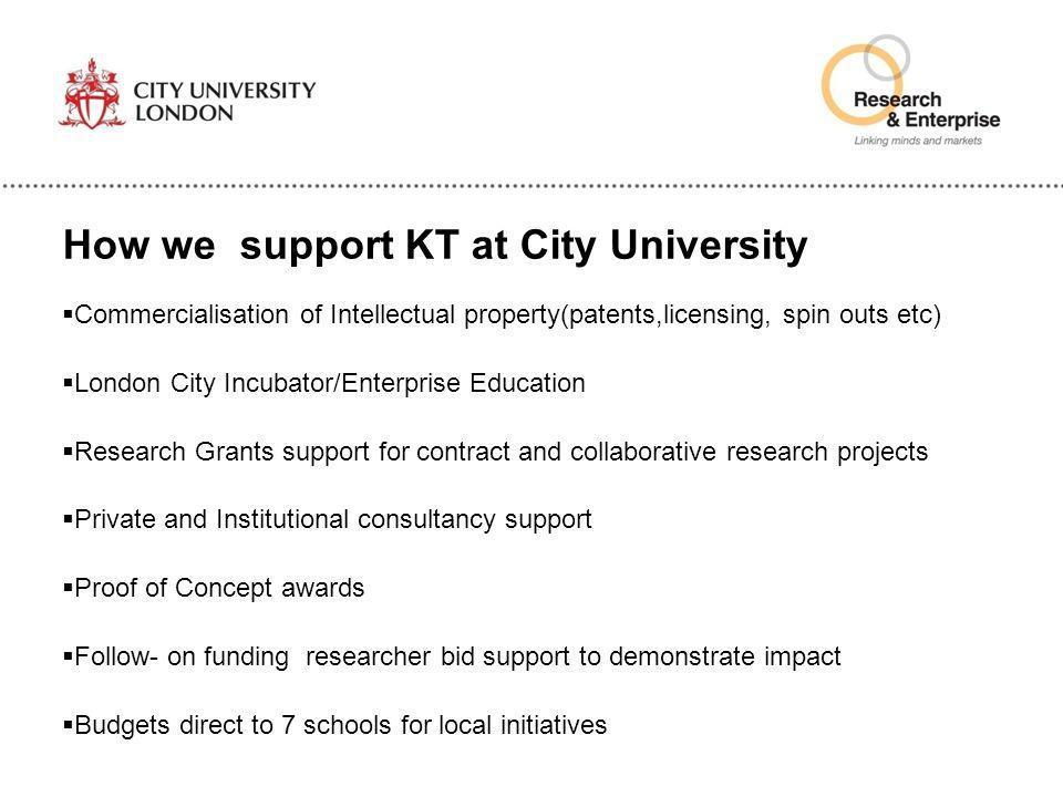 How we support KT at City University  Commercialisation of Intellectual property(patents,licensing, spin outs etc)  London City Incubator/Enterprise
