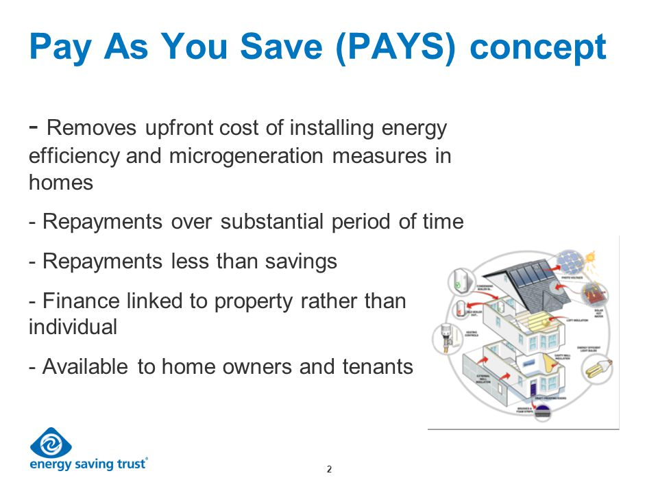 2 Pay As You Save (PAYS) concept - Removes upfront cost of installing energy efficiency and microgeneration measures in homes - Repayments over substantial period of time - Repayments less than savings - Finance linked to property rather than individual - Available to home owners and tenants