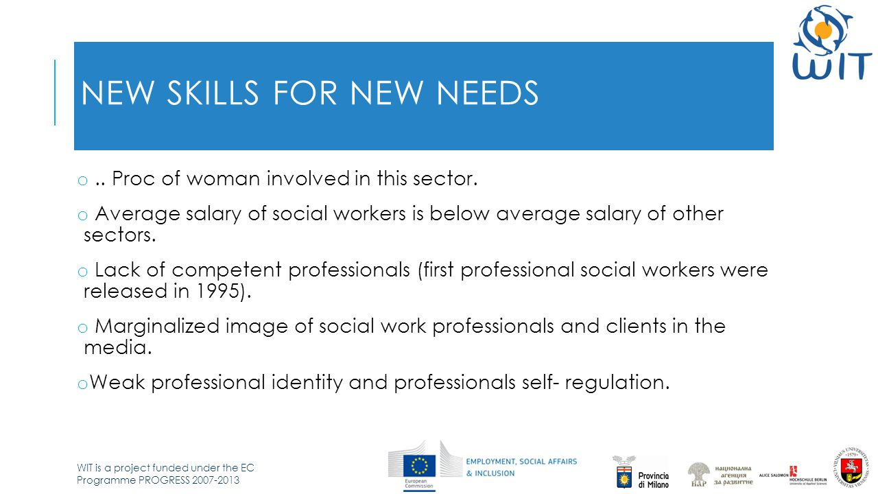 WIT is a project funded under the EC Programme PROGRESS 2007-2013 NEW SKILLS FOR NEW NEEDS o.. Proc of woman involved in this sector. o Average salary