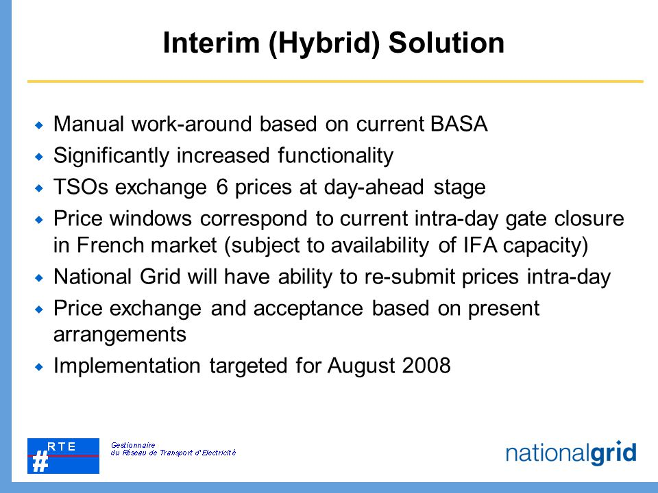 Interim (Hybrid) Solution  Manual work-around based on current BASA  Significantly increased functionality  TSOs exchange 6 prices at day-ahead sta