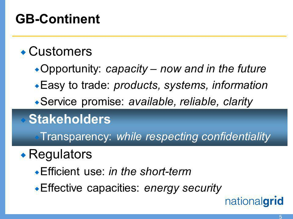 5  Customers  Opportunity: capacity – now and in the future  Easy to trade: products, systems, information  Service promise: available, reliable, clarity  Stakeholders  Transparency: while respecting confidentiality  Regulators  Efficient use: in the short-term  Effective capacities: energy security GB-Continent