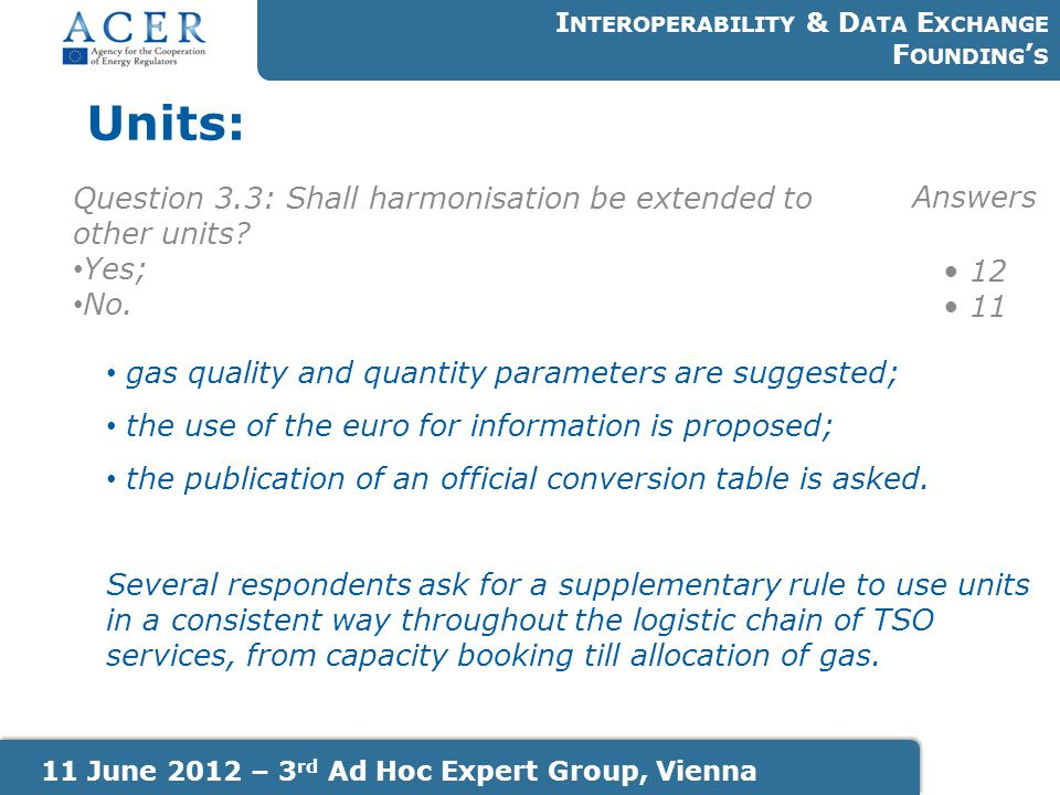 Units: I NTEROPERABILITY & D ATA E XCHANGE F OUNDING ' S 11 June 2012 – 3 rd Ad Hoc Expert Group, Vienna Question 3.3: Shall harmonisation be extended