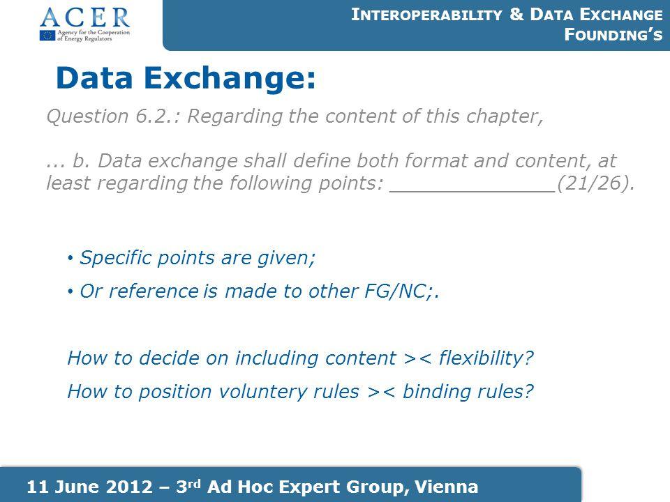 Data Exchange: I NTEROPERABILITY & D ATA E XCHANGE F OUNDING ' S 11 June 2012 – 3 rd Ad Hoc Expert Group, Vienna Question 6.2.: Regarding the content