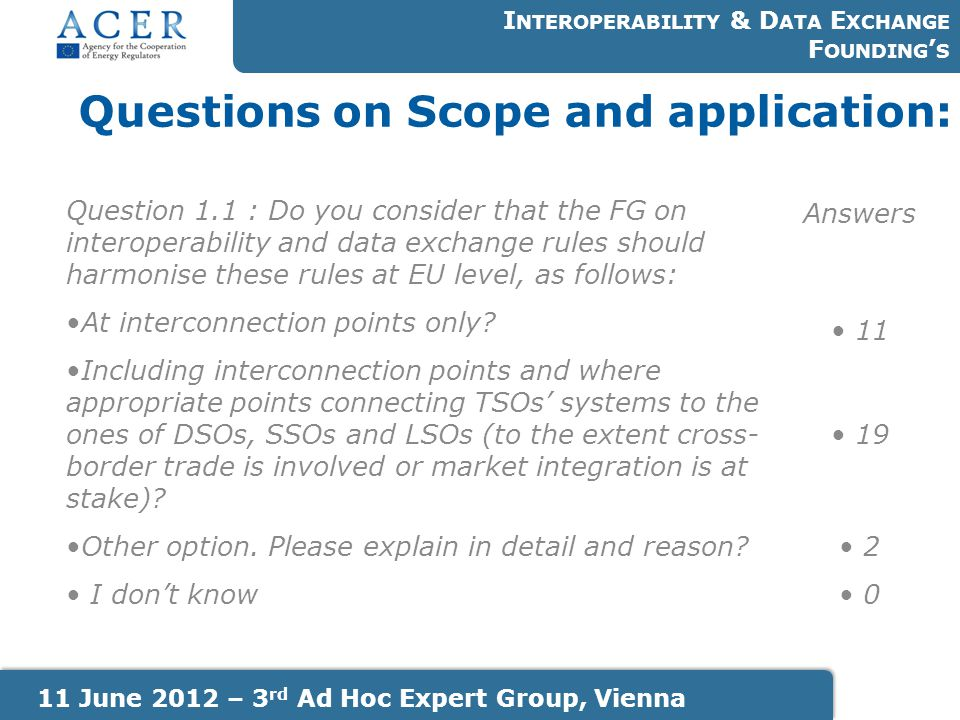 Questions on Scope and application: I NTEROPERABILITY & D ATA E XCHANGE F OUNDING ' S 11 June 2012 – 3 rd Ad Hoc Expert Group, Vienna Question 1.1 : D