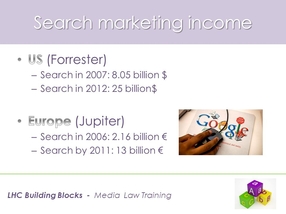 Search marketing income LHC Building Blocks - Media Law Training