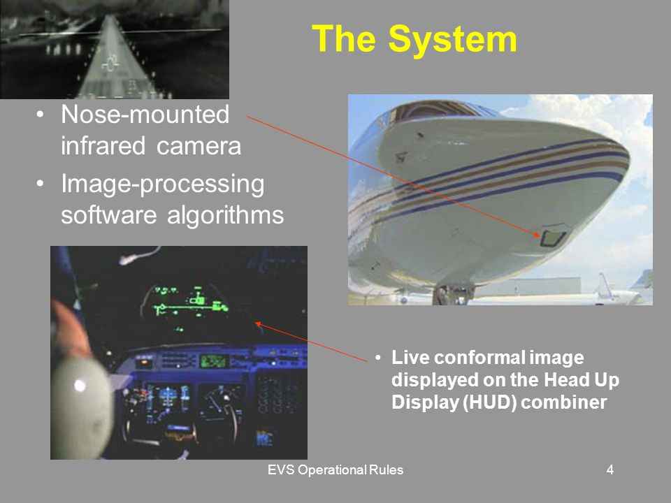 EVS Operational Rules4 Live conformal image displayed on the Head Up Display (HUD) combiner The System Nose-mounted infrared camera Image-processing software algorithms