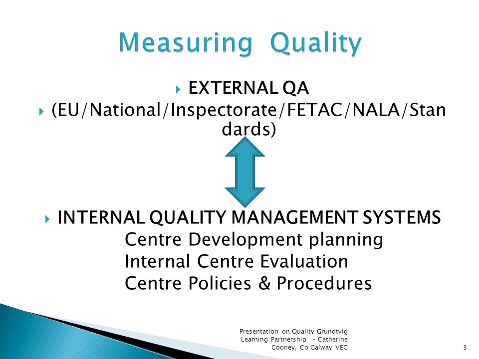  EXTERNAL QA  (EU/National/Inspectorate/FETAC/NALA/Stan dards)  INTERNAL QUALITY MANAGEMENT SYSTEMS Centre Development planning Internal Centre Eva