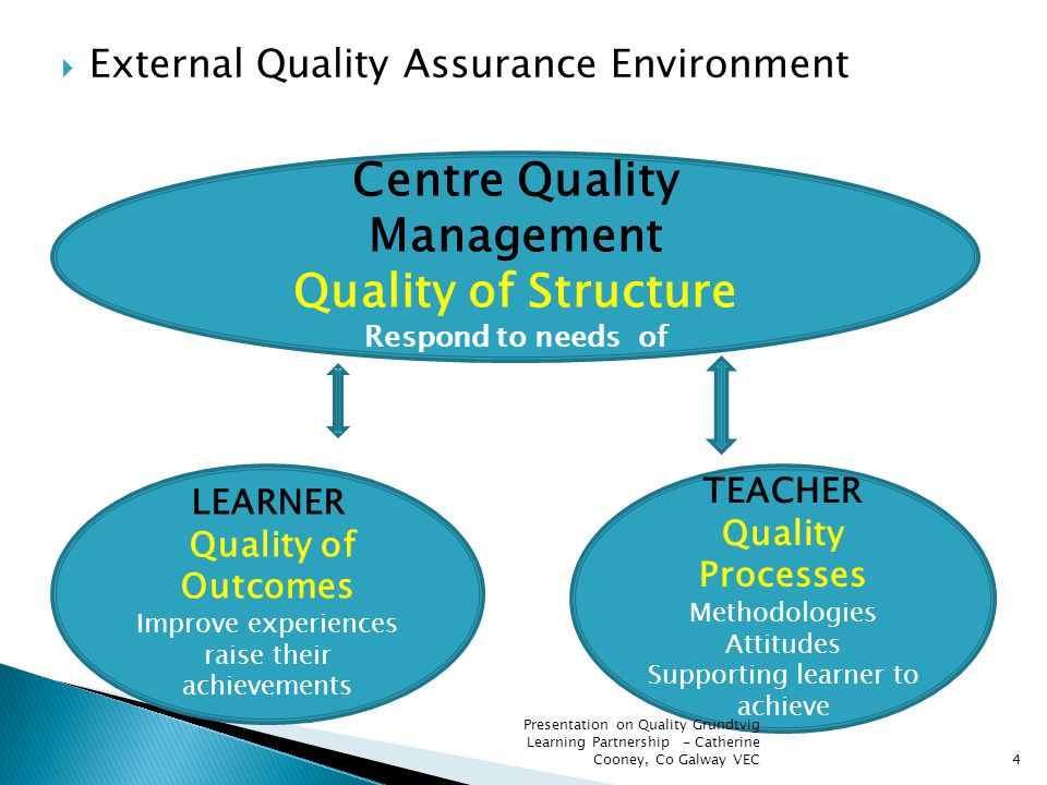 External Quality Assurance Environment 4 Centre Quality Management Quality of Structure Respond to needs of TEACHER Quality Processes Methodologies