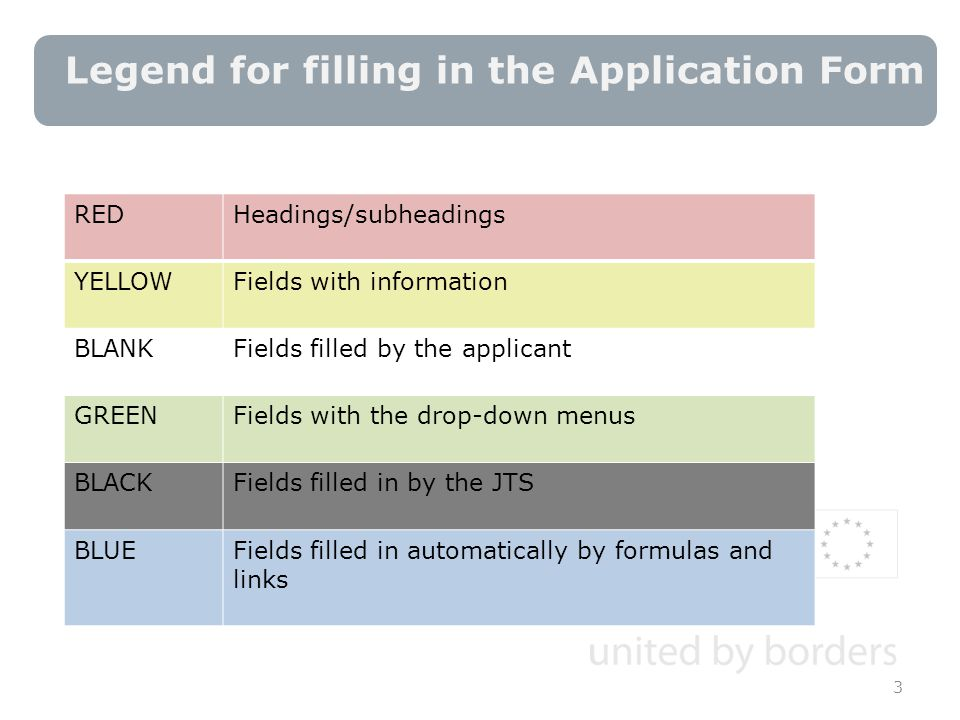 Legend for filling in the Application Form 3 REDHeadings/subheadings YELLOWFields with information BLANKFields filled by the applicant GREENFields with the drop-down menus BLACKFields filled in by the JTS BLUEFields filled in automatically by formulas and links