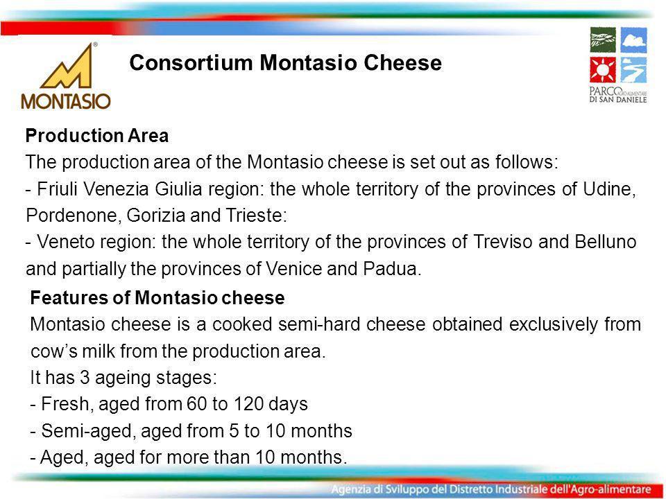 Consortium Montasio Cheese Production Area The production area of the Montasio cheese is set out as follows: - Friuli Venezia Giulia region: the whole territory of the provinces of Udine, Pordenone, Gorizia and Trieste: - Veneto region: the whole territory of the provinces of Treviso and Belluno and partially the provinces of Venice and Padua.
