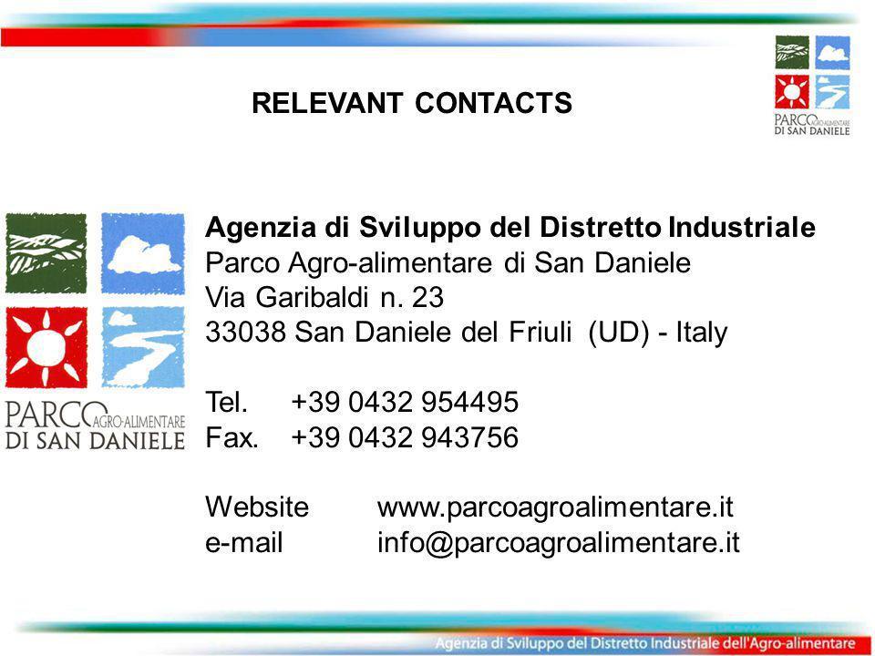 RELEVANT CONTACTS Agenzia di Sviluppo del Distretto Industriale Parco Agro-alimentare di San Daniele Via Garibaldi n.