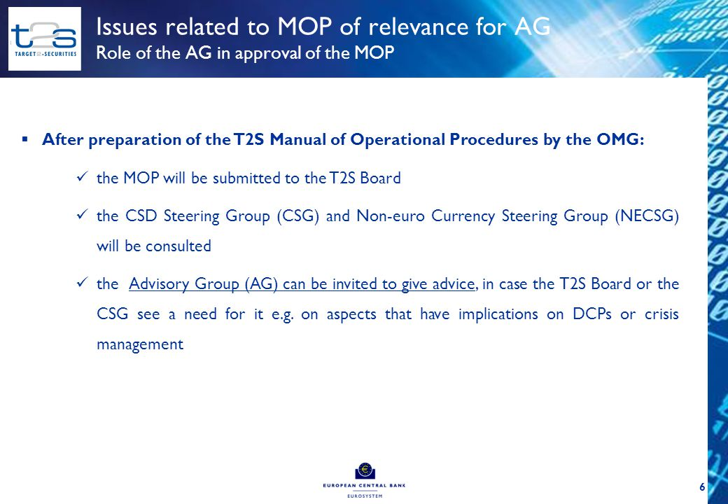  After preparation of the T2S Manual of Operational Procedures by the OMG: the MOP will be submitted to the T2S Board the CSD Steering Group (CSG) an