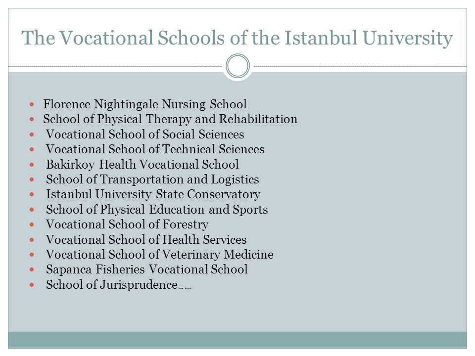 The Vocational Schools of the Istanbul University Florence Nightingale Nursing School School of Physical Therapy and Rehabilitation Vocational School of Social Sciences Vocational School of Technical Sciences Bakirkoy Health Vocational School School of Transportation and Logistics Istanbul University State Conservatory School of Physical Education and Sports Vocational School of Forestry Vocational School of Health Services Vocational School of Veterinary Medicine Sapanca Fisheries Vocational School School of Jurisprudence Florence NtingalS