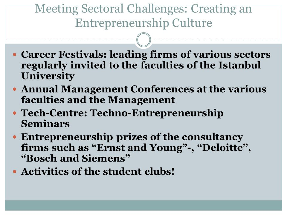 Meeting Sectoral Challenges: Creating an Entrepreneurship Culture Career Festivals: leading firms of various sectors regularly invited to the faculties of the Istanbul University Annual Management Conferences at the various faculties and the Management Tech-Centre: Techno-Entrepreneurship Seminars Entrepreneurship prizes of the consultancy firms such as Ernst and Young -, Deloitte , Bosch and Siemens Activities of the student clubs!