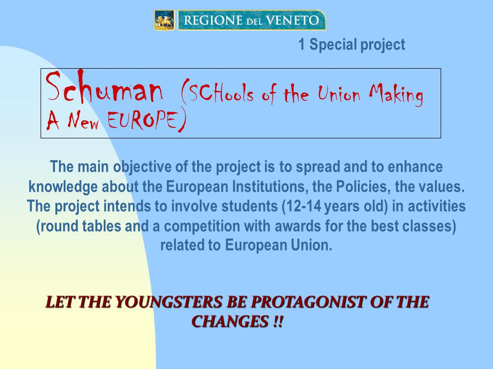 Schuman (SCHools of the Union Making A New EUROPE) The main objective of the project is to spread and to enhance knowledge about the European Institutions, the Policies, the values.