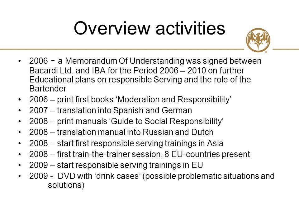 Overview activities 2006 - a Memorandum Of Understanding was signed between Bacardi Ltd.