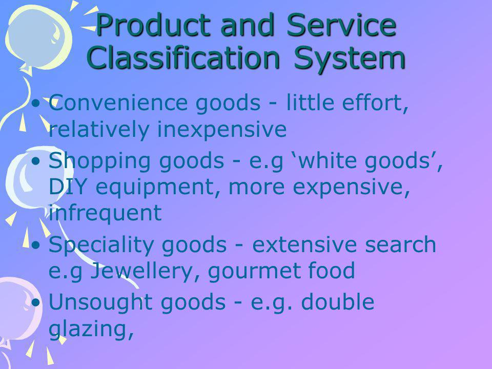 Industrial goods Installations - 'speciality' goods of industrial markets - plant and machinery Accessories - maintenance and office equipment Raw materials components Business to business e.g.
