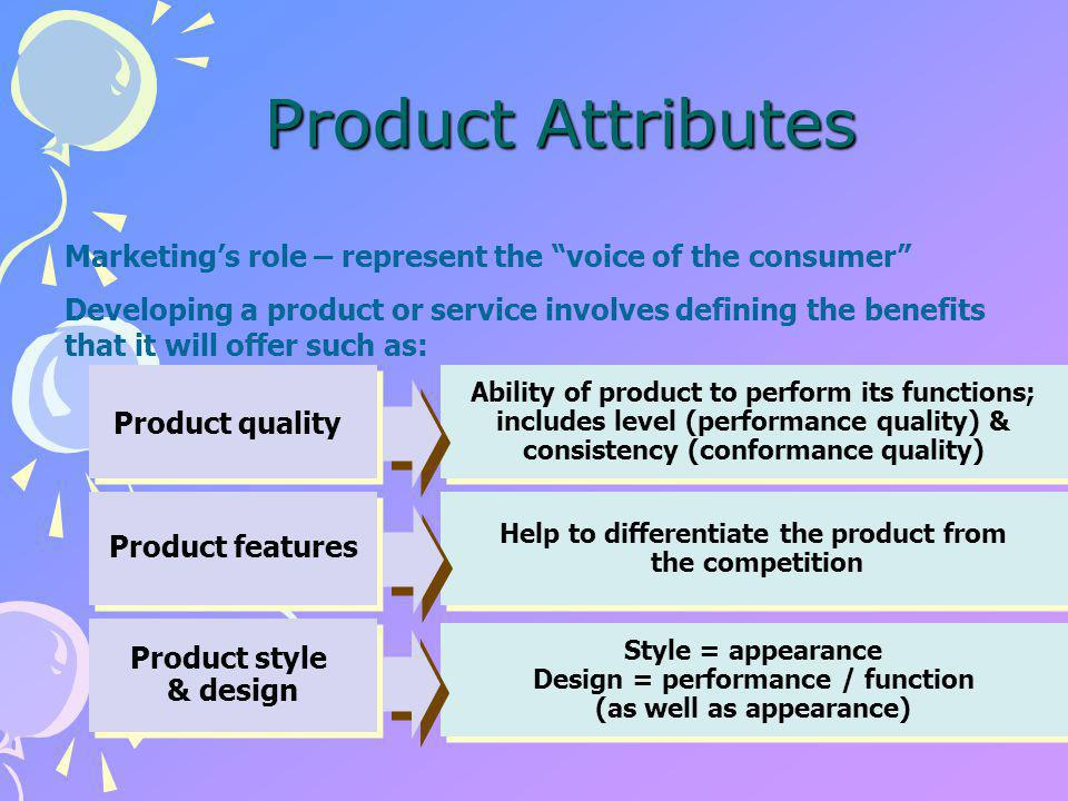 ATTRIBUTES AN ATTRIBUTE IS A PROPERTY OF A FOOD THAT THE CUSTOMER DESIRES MOST CUSTOMERS ARE LOOKING FOR MULTIPLE ATTRIBUTES IN A FOOD PRODUCT ATTRIBUTES ARE EXPECTED TO REMAIN CONSTANT THROUGHOUT THE SHELF-LIFE OF THE PRODUCT