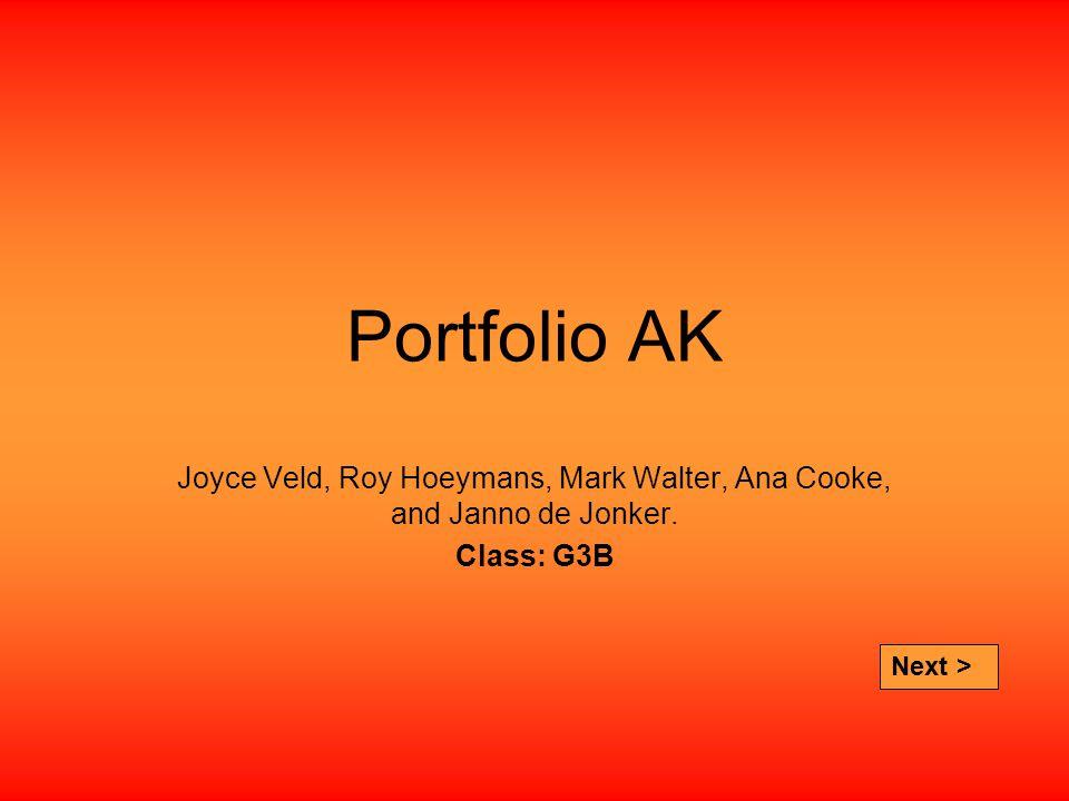 Portfolio AK Joyce Veld, Roy Hoeymans, Mark Walter, Ana Cooke, and Janno de Jonker.