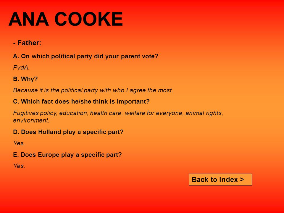 ANA COOKE A. On which political party did your parent vote.