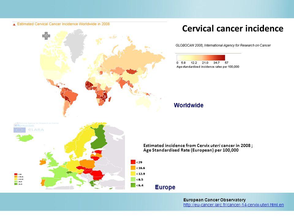 Estimated incidence from Cervix uteri cancer in 2008 ; Age Standardised Rate (European) per 100,000 European Cancer Observatory http://eu-cancer.iarc.fr/cancer-14-cervix-uteri.html,enWorldwide Europe Cervical cancer incidence