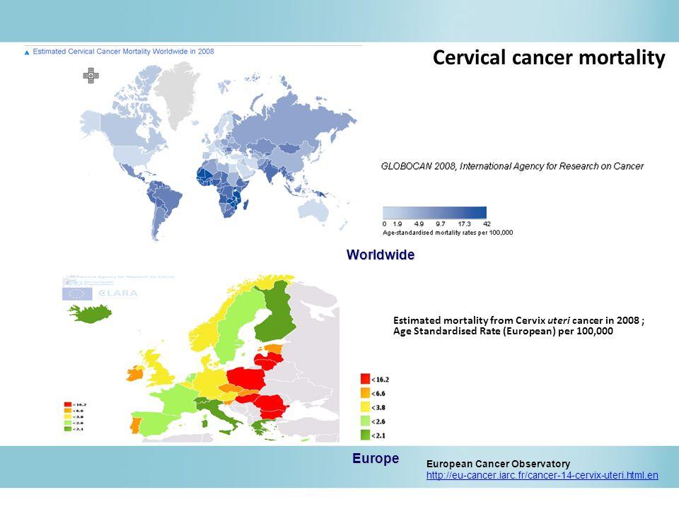 Estimated mortality from Cervix uteri cancer in 2008 ; Age Standardised Rate (European) per 100,000 European Cancer Observatory http://eu-cancer.iarc.fr/cancer-14-cervix-uteri.html,enWorldwide Europe Cervical cancer mortality