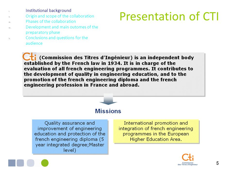5 Presentation of CTI I. Institutional background II.
