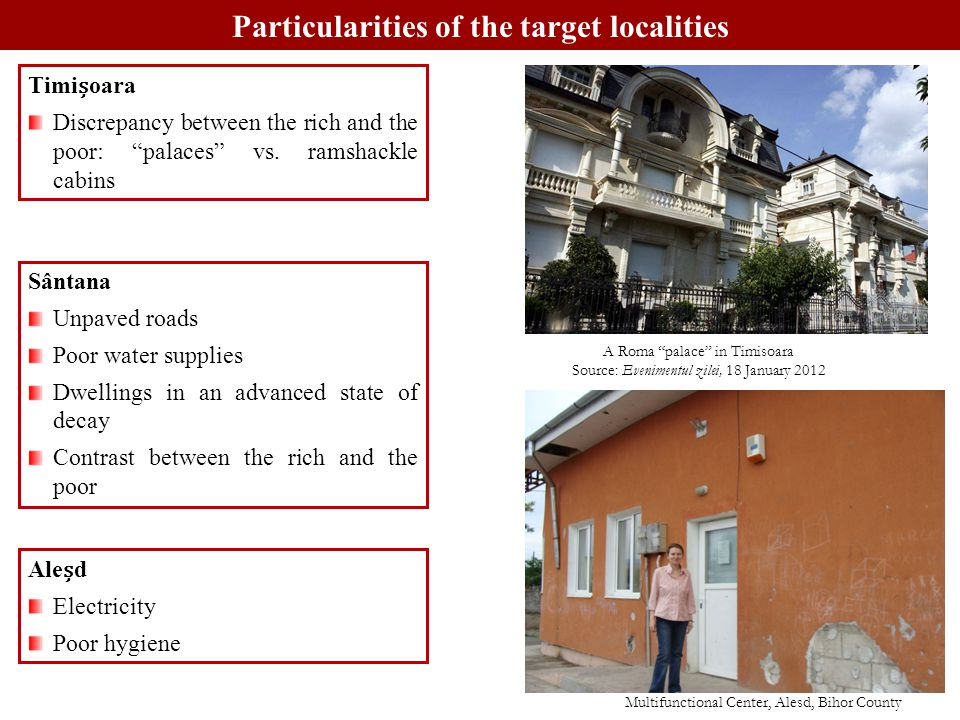 Particularities of the target localities Timioara Discrepancy between the rich and the poor: palaces vs.