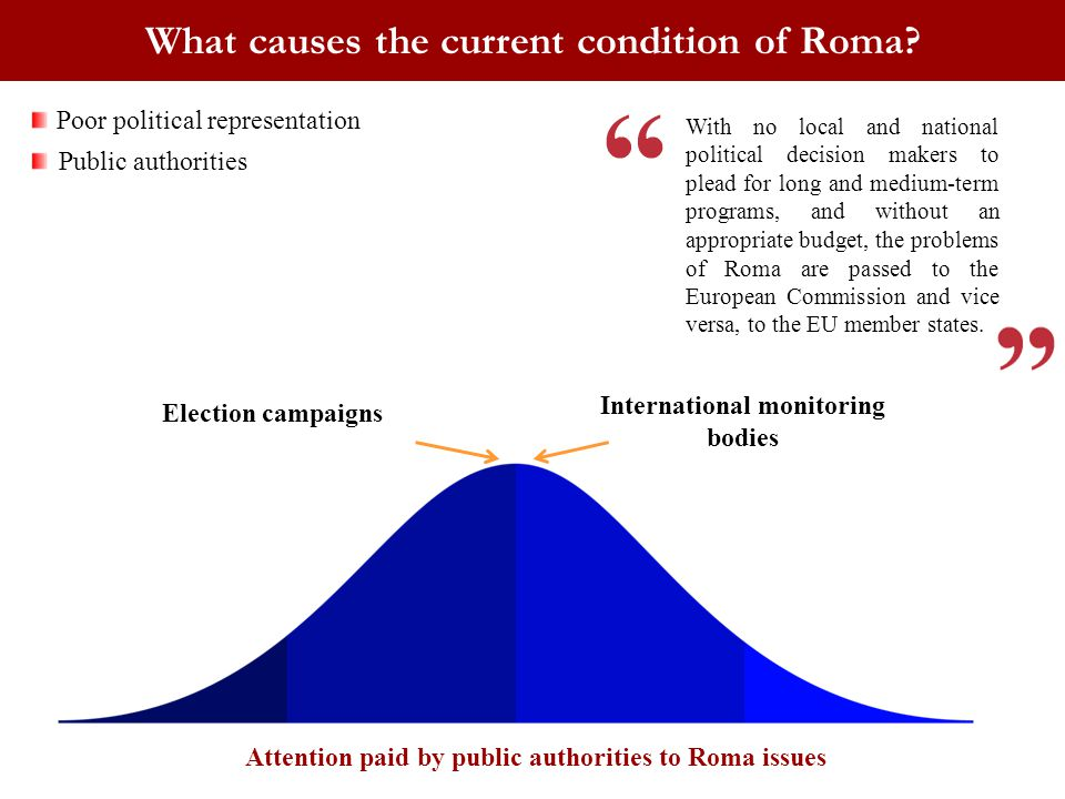 International monitoring bodies What causes the current condition of Roma? Election campaigns Attention paid by public authorities to Roma issues Poor