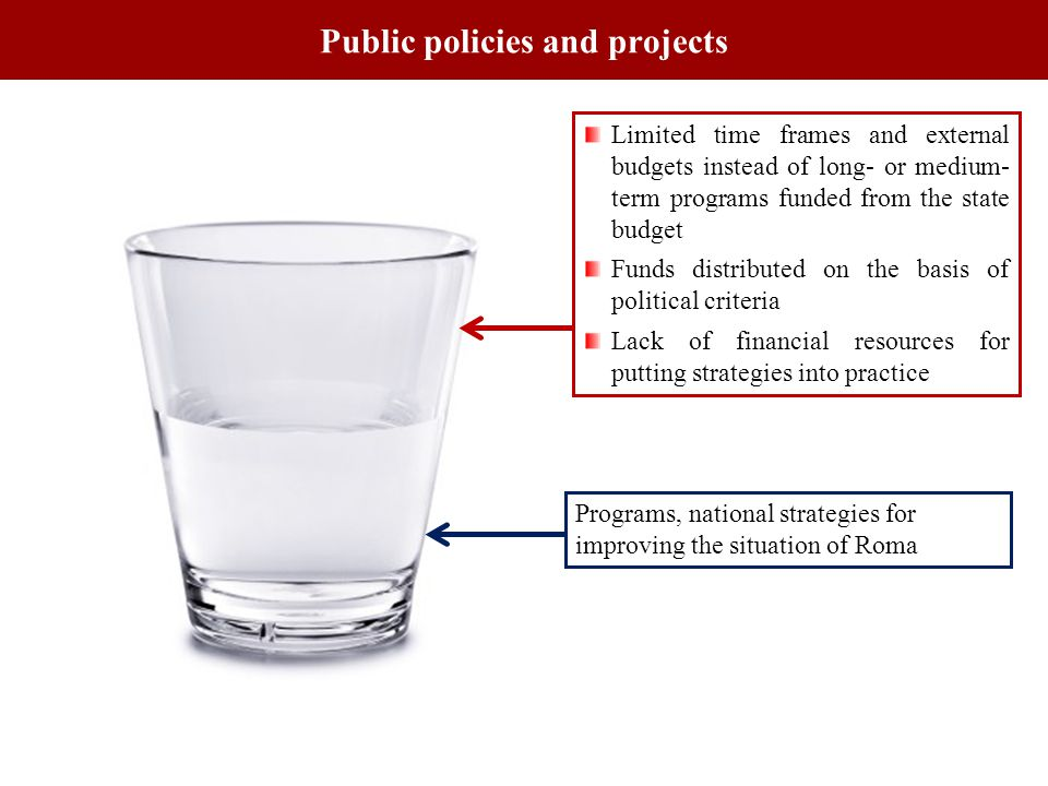 Public policies and projects Programs, national strategies for improving the situation of Roma Limited time frames and external budgets instead of long- or medium- term programs funded from the state budget Funds distributed on the basis of political criteria Lack of financial resources for putting strategies into practice