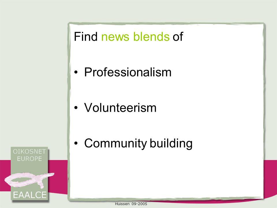 Huissen 09-2005 Find news blends of Professionalism Volunteerism Community building