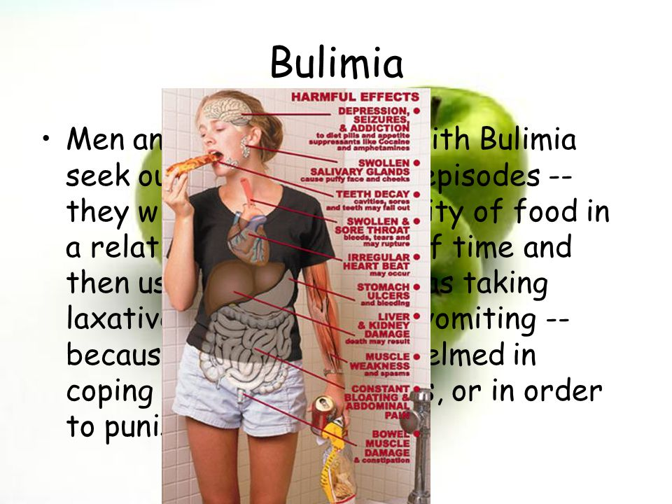 Andrea & Ashley Bulimia Men and women who live with Bulimia seek out binge and purge episodes -- they will eat a large quantity of food in a relativel