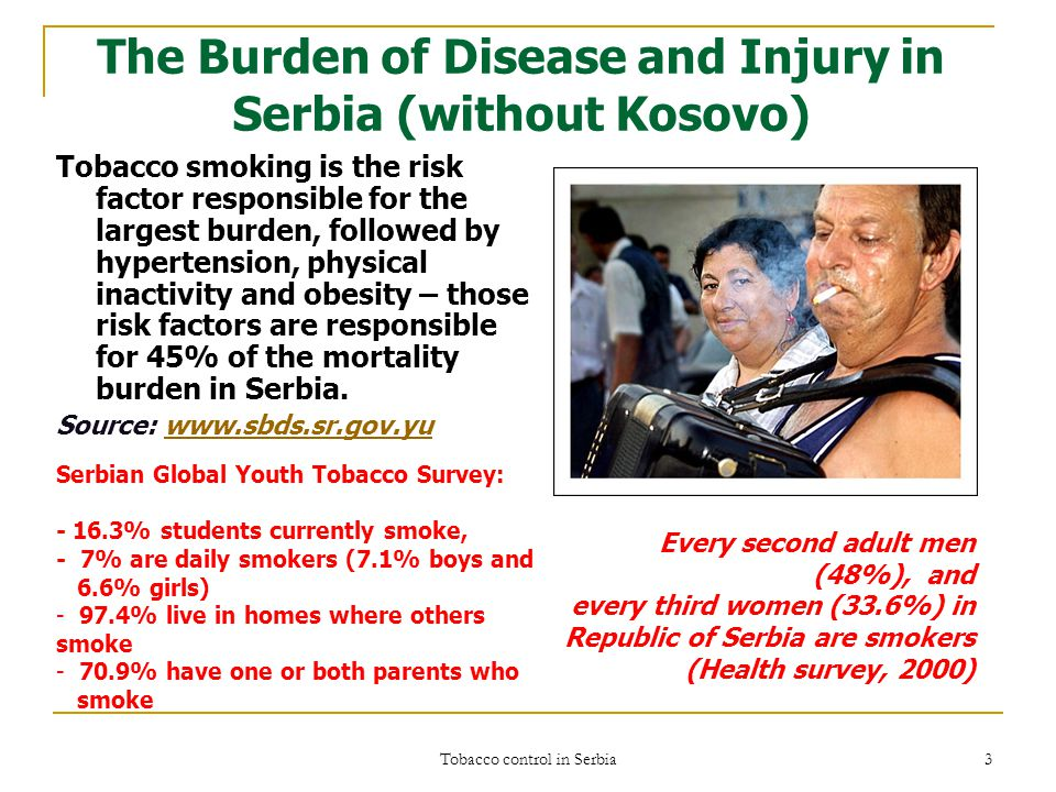 Tobacco control in Serbia 3 The Burden of Disease and Injury in Serbia (without Kosovo) Tobacco smoking is the risk factor responsible for the largest burden, followed by hypertension, physical inactivity and obesity – those risk factors are responsible for 45% of the mortality burden in Serbia.