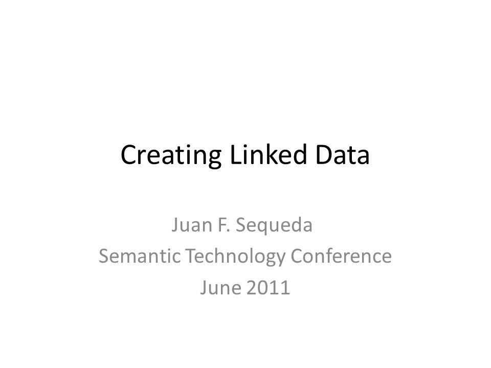 Three different URIs URI for the real world object (non-information resource) – http://dbpedia.org/resource/London – http://id.mycompany.com/person/Juan-Sequeda – http://mycompany.com/person/Juan-Sequeda – http://www.juansequeda.com/foaf.rdf#me URI for the HTML document (information resource) that describes the real world object – http://dbpedia.org/page/London – http://pages.mycompany.com/person/Juan-Sequeda – http://mycompany.com/person/Juan-Sequeda.html URI for the RDF document (information resource) that describes the real world object – http://dbpedia.org/data/London – http://data.mycompany.com/Juan-Sequeda – http://mycompany.com/person/Juan-Sequeda.rdf – http://www.juansequeda.com/foaf.rdf