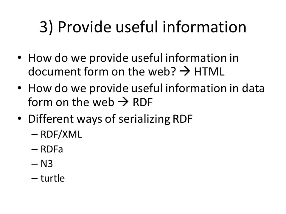 How do we provide useful information in document form on the web.