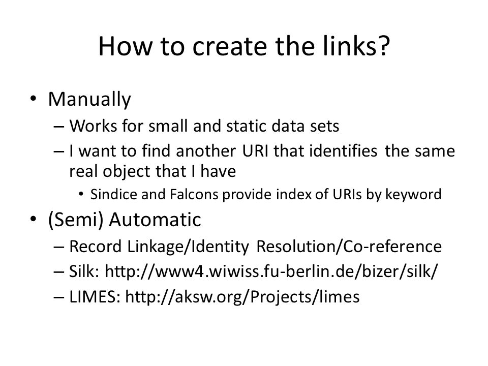 How to create the links.