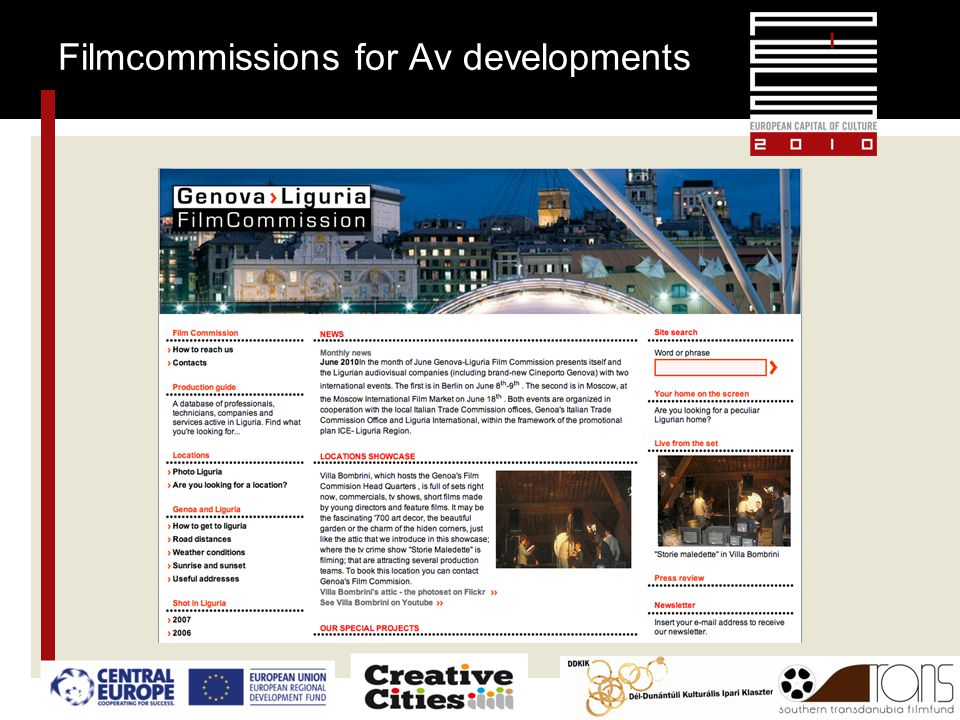 Filmcommissions for Av developments