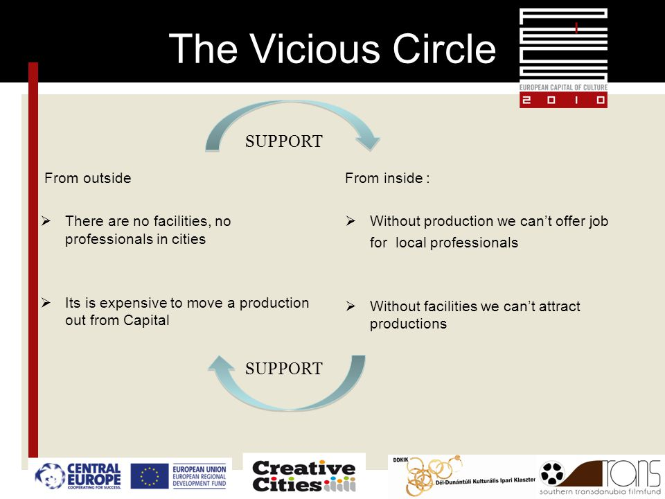 The Vicious Circle From outside  There are no facilities, no professionals in cities  Its is expensive to move a production out from Capital From inside :  Without production we can't offer job for local professionals  Without facilities we can't attract productions SUPPORT