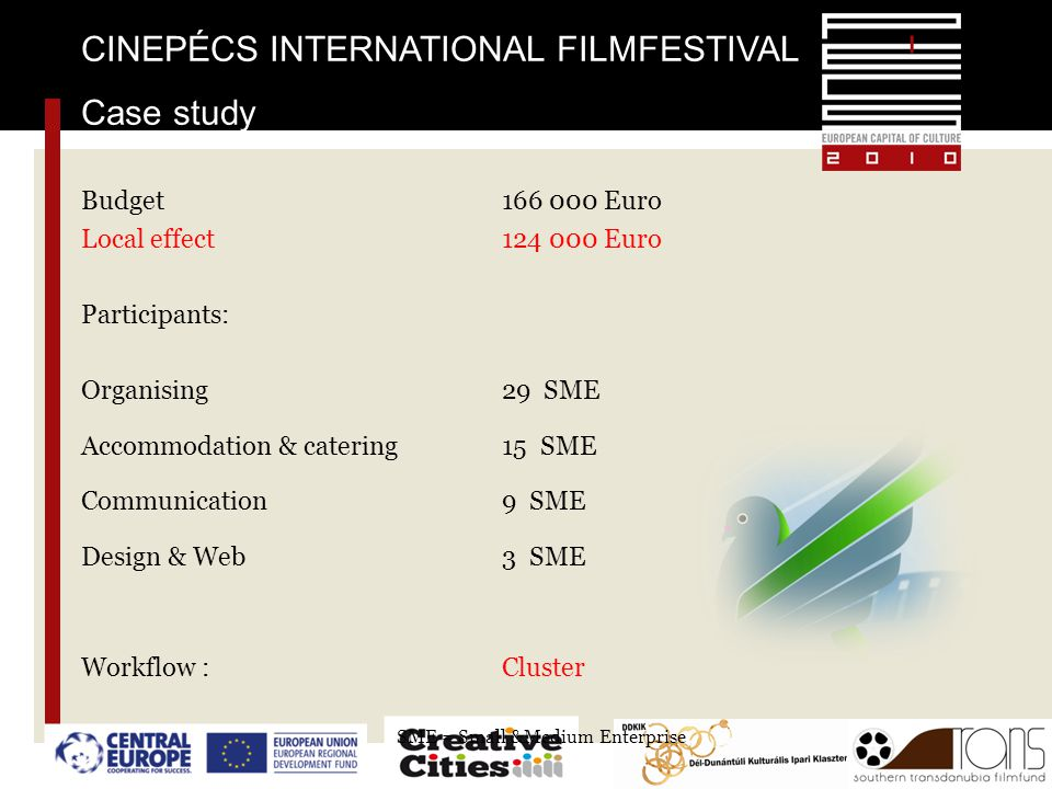 CINEPÉCS INTERNATIONAL FILMFESTIVAL Case study Budget 166 000 Euro Local effect124 000 Euro Participants: Organising29 SME Accommodation & catering15
