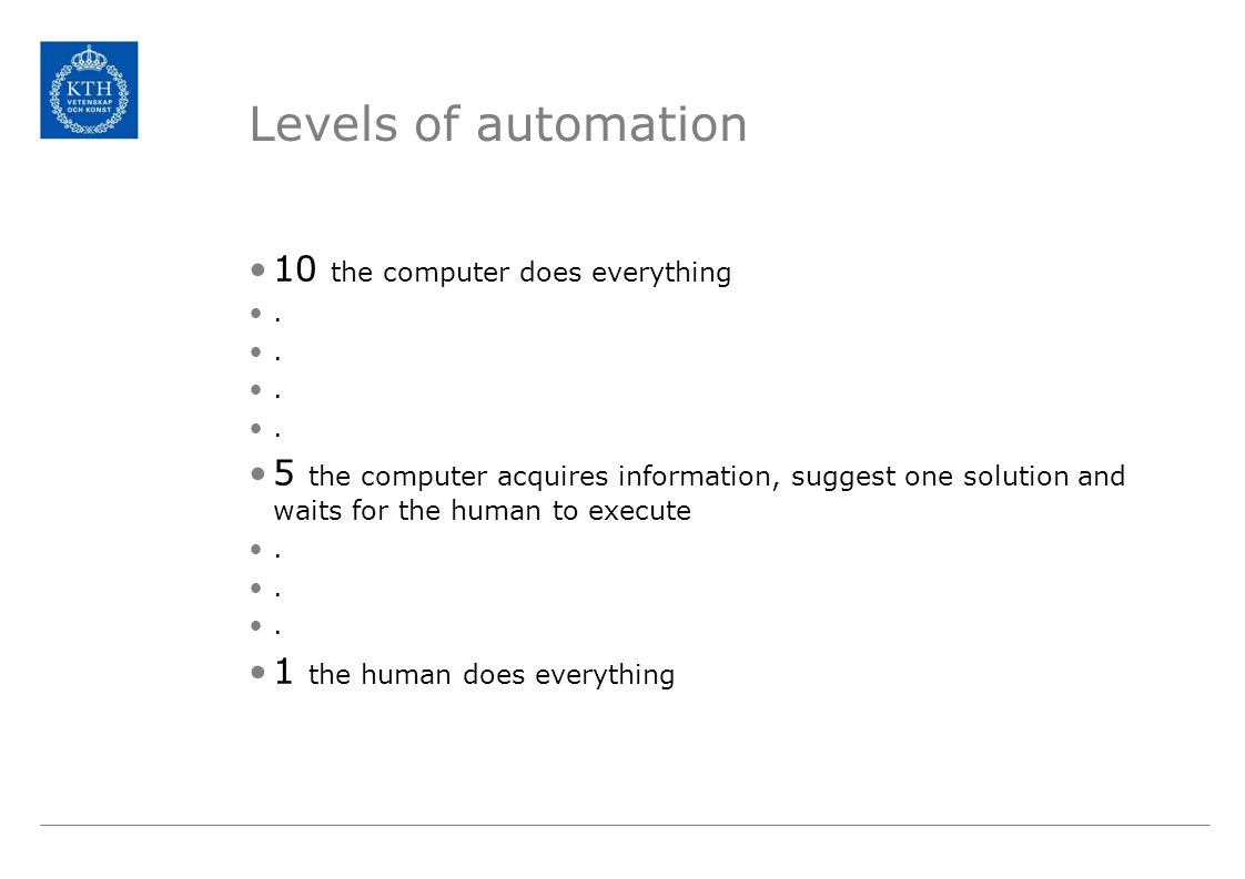 Levels of automation 10 the computer does everything.