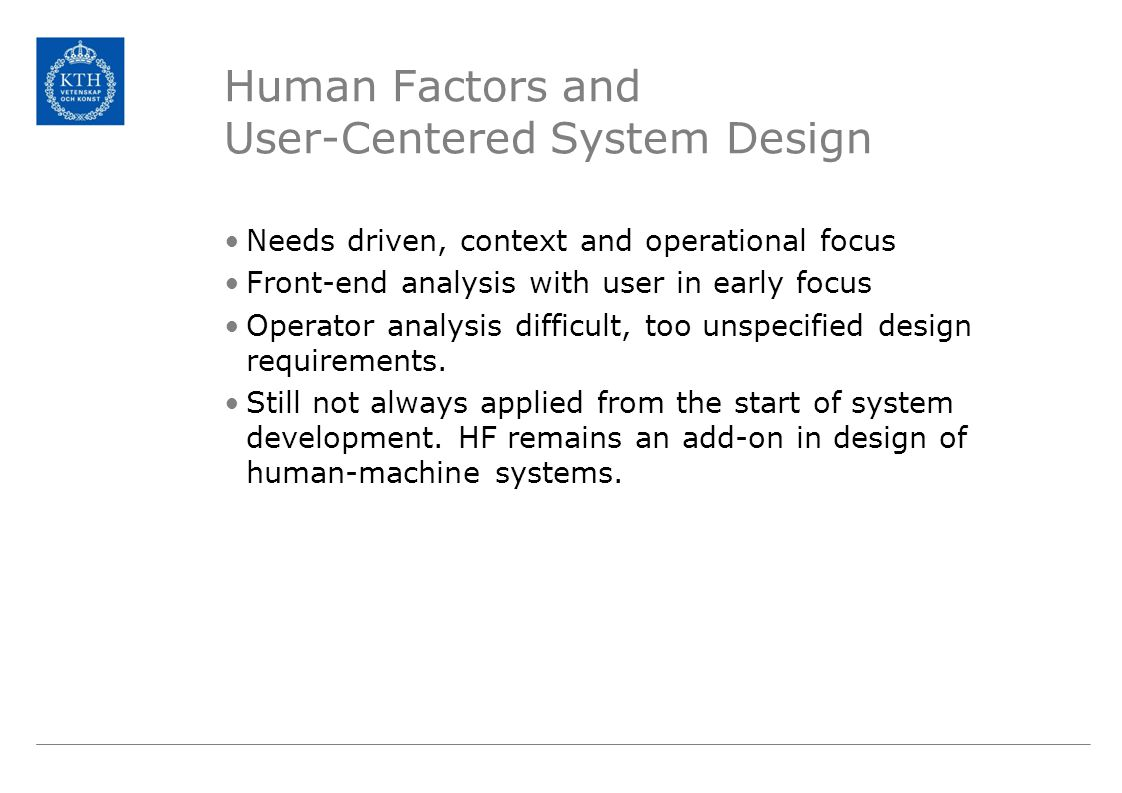 Operational requirements User requirements Design requirements Tech.