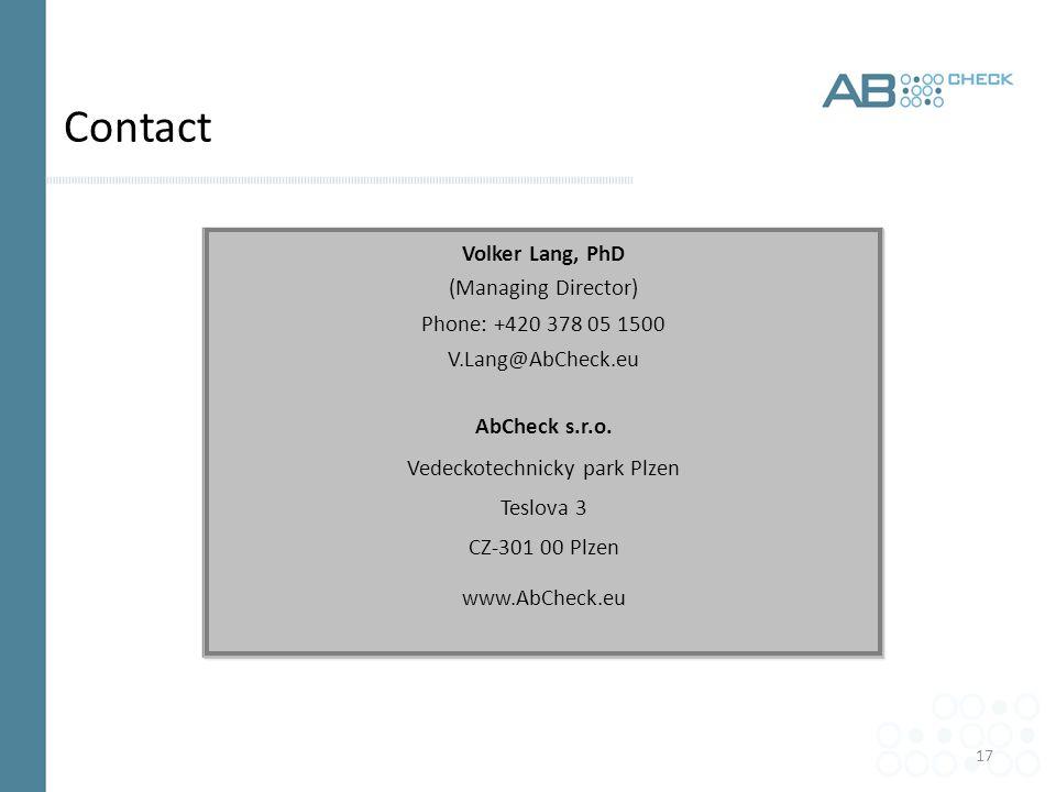 17 Contact Volker Lang, PhD (Managing Director) Phone: +420 378 05 1500 V.Lang@AbCheck.eu AbCheck s.r.o.