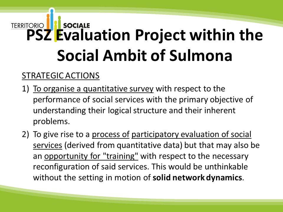 PSZ Evaluation Project within the Social Ambit of Sulmona STRATEGIC ACTIONS 1)To organise a quantitative survey with respect to the performance of social services with the primary objective of understanding their logical structure and their inherent problems.