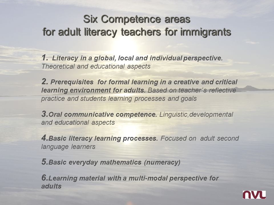 Six Competence areas for adult literacy teachers for immigrants 1. Literacy in a global, local and individual perspective. Theoretical and educational