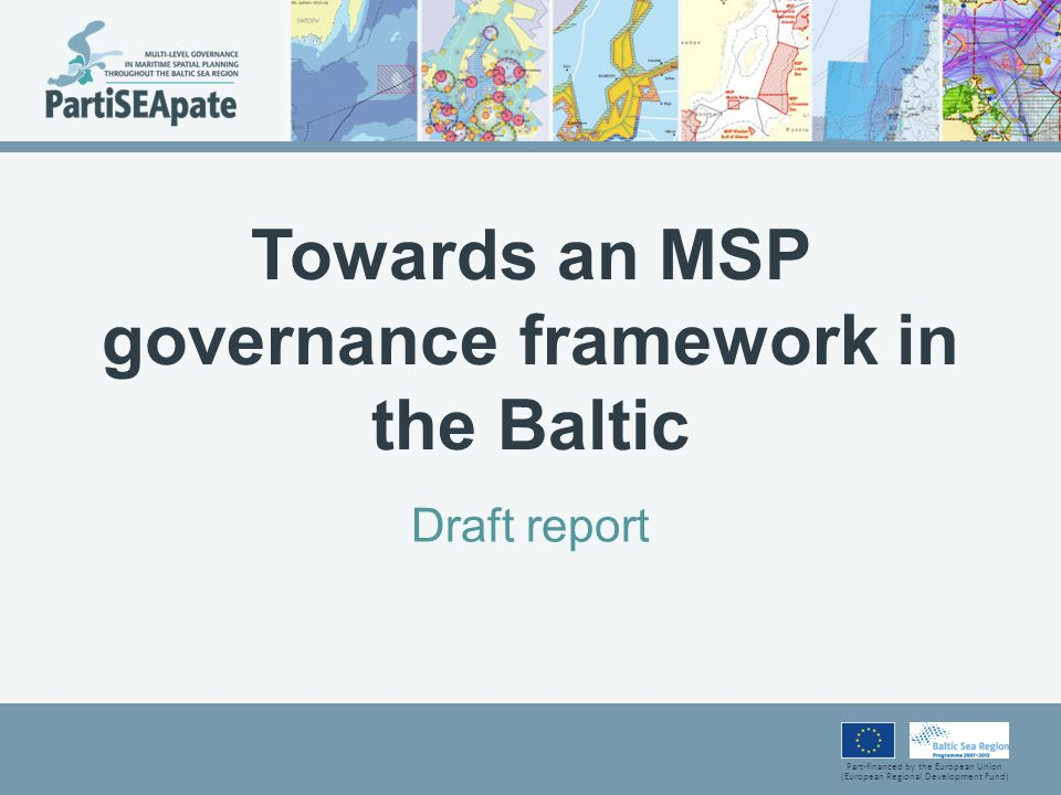The pan-Baltic MSP governance framework The HELCOM/VASAB MSP Working Group, with focus on the policy level The HELCOM and VASAB secretariats as the main organisers of the pan-Baltic MSP dialogue, Expert groups composed of sector representatives, planners and experts as the main format of the pan-Baltic MSP dialogue, Pan-Baltic sectoral organisations (where available), other institutions and projects as participants in the pan-Baltic MSP dialogue.