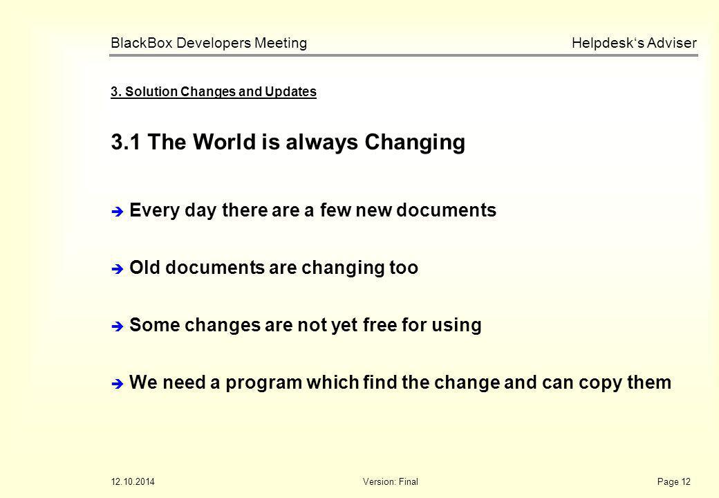 Helpdesk's Adviser BlackBox Developers Meeting 12.10.2014Version: FinalPage 12 3.1 The World is always Changing 3. Solution Changes and Updates  Ever